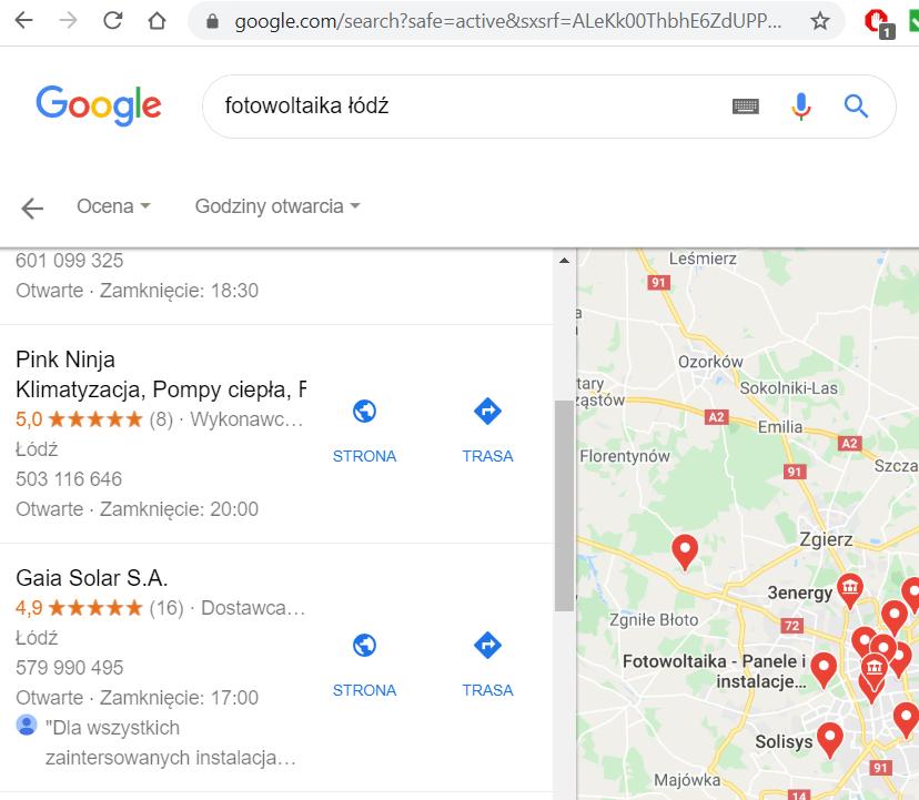 """Wyniki z opiniami i ocenami w wyszukiwarce Google na hasło: """"fotowoltaika Łódź"""" Ranking 19 maja 2020 r."""